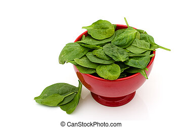 Super Food Spinach - A bowl of spinach isolated on white,...
