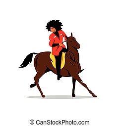 Vector North Caucasus rider Cartoon Illustration - Man in...
