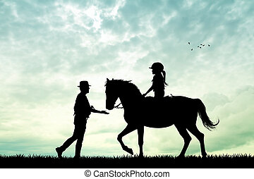 horse ride at sunset - illustration of horse ride at sunset