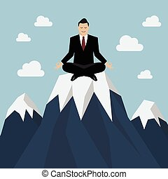 Businessman meditating on a Mountain peak