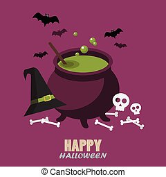 Happy halloween flat style. Greeting card