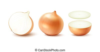 Set of Whole and Sliced Yellow Onion Bulbs - Vector Set of...