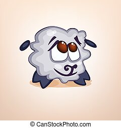 Vector Illustration with cartoon embarrassed sheep -...