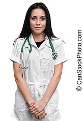 Smiling young medical doctor with stethoscope.