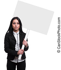 woman with a banner isolated on white background