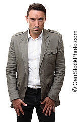 Serious man looking at camera isolated on a white background
