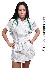 Beautiful sexy nurse standing and posing on white...
