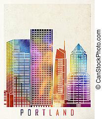 Portland landmarks watercolor poster