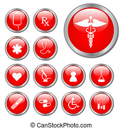 Red Medical Buttons