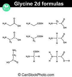 Glycine chemical structures, different styles - Glycine 2d...