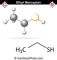 Ethyl mercaptan chemical structure, odorant of natural gas,...