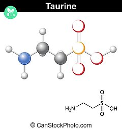 Taurine chemical formula and model, 2d and 3d illustration,...