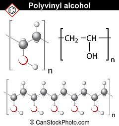 Polyvinyl alcohol polymer chemical structure, 2d and 3d...