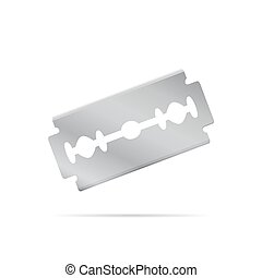 Realistic razor blade, front view at an angle object, 3d...