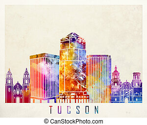 Tucson landmarks watercolor poster