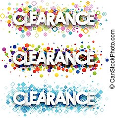 Clearance colour banners set. Vector paper illustration.