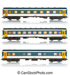 Set of passenger railroad cars - Set of miniature passenger...