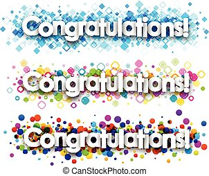 Congratulations colour banners set. Vector paper...