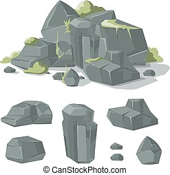 Stones and rocks cartoon vector nature boulder with grass...