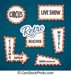 Retro neon bulb vector signs set. Cinema, live show, open, circus, now showing, motel banners