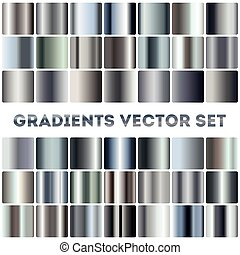 Silver, steel, chrome gradients vector set