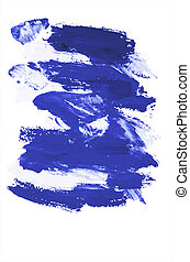 Blue paint strokes on paper