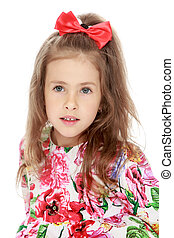 Beautiful little girl - Gentle little girl with a long...