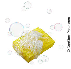 sponge with soaps and bubbles