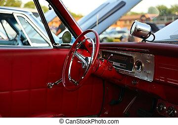 classic retro  vintage red car