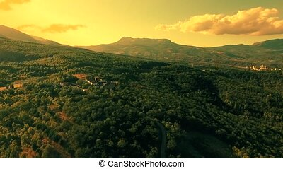 Aerial view on the beautiful mountain landscape, sunshine in...