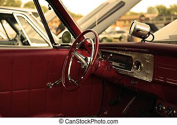 classic retro  vintage red car.