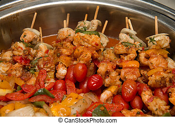 BBQ with kebab cooking grill of chicken meat skewers with  peppers