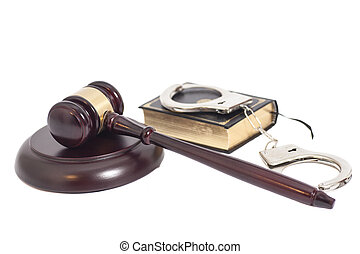 Judge gavel,Handcuffs and book on law