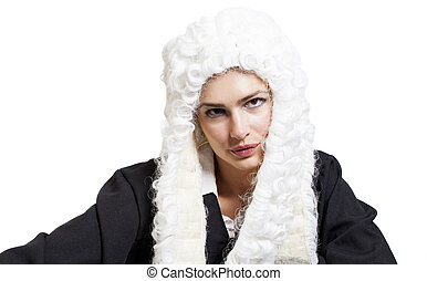 Female judge wearing a wig and black mantle isolated on...