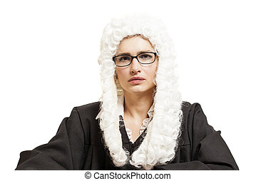 Female judge wearing a wig and Back mantle with eyeglasses...