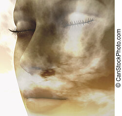 elements - Digital composition of a female face one of four...