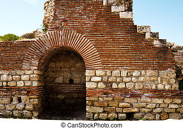 Bulgaria Nosebar Old Town - The ruins of the walls around...