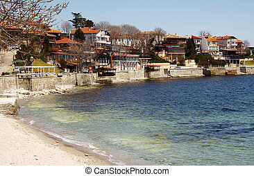 Old Town of Nessebar, Bulgaria - Marine quay, houses with...