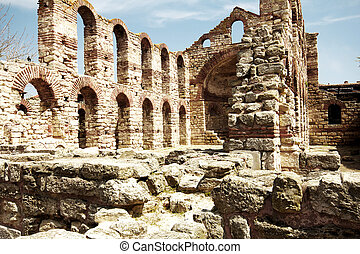 Bulgaria NesebarOld Town - The ruins of the walls around the...