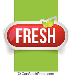 Fresh button vector with leaves