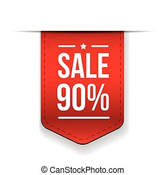 Sale 90% off banner red ribon