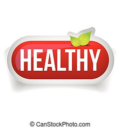 Healthy button vector with leaves