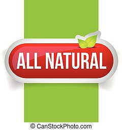 All Natural button vector with leaves