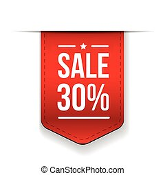 Sale 30% off banner red ribon