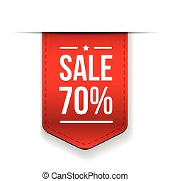 Sale 70% off banner red ribon