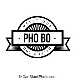 Delicious Pho Bo (Vietnamese soup) - Vintage stamp