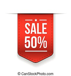 Sale 50 off banner red ribon