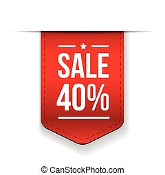 Sale 40% off banner red ribon