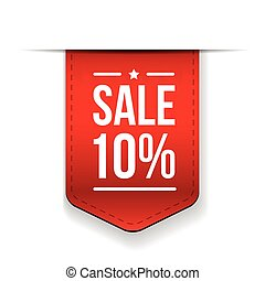 Sale 10% off banner red ribon