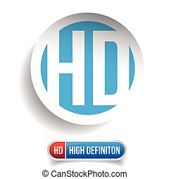 HD button - High Definition vector set